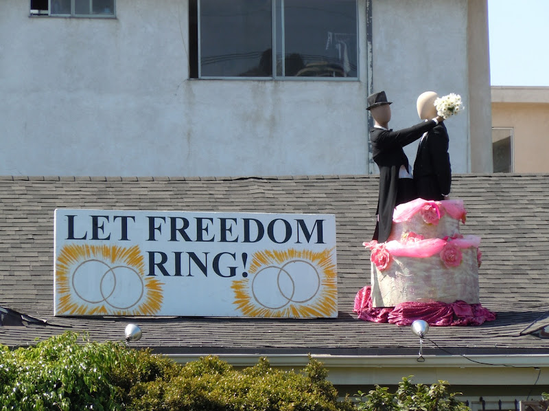 Gay Marriage West Hollywood roof display