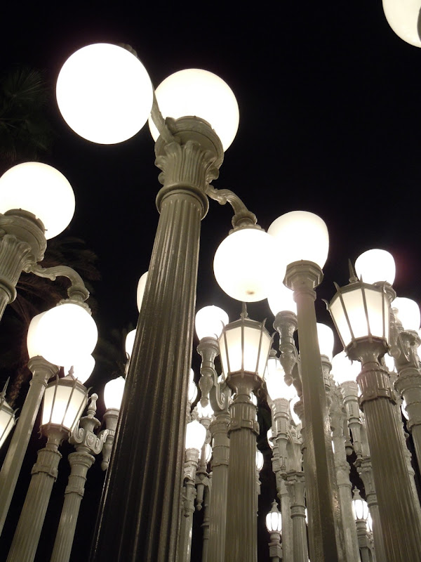 Urban Light lampposts at night