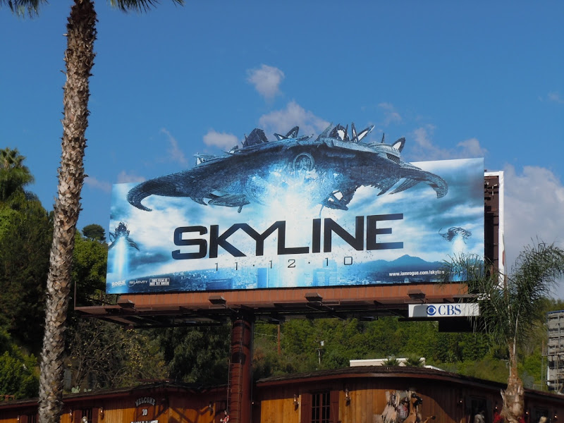 Skyline spaceship film billboard