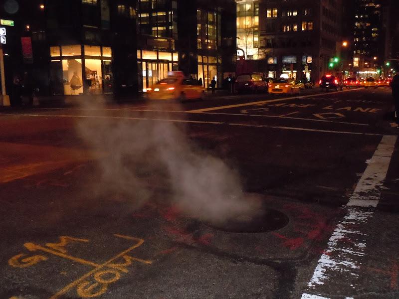 New York steaming manhole