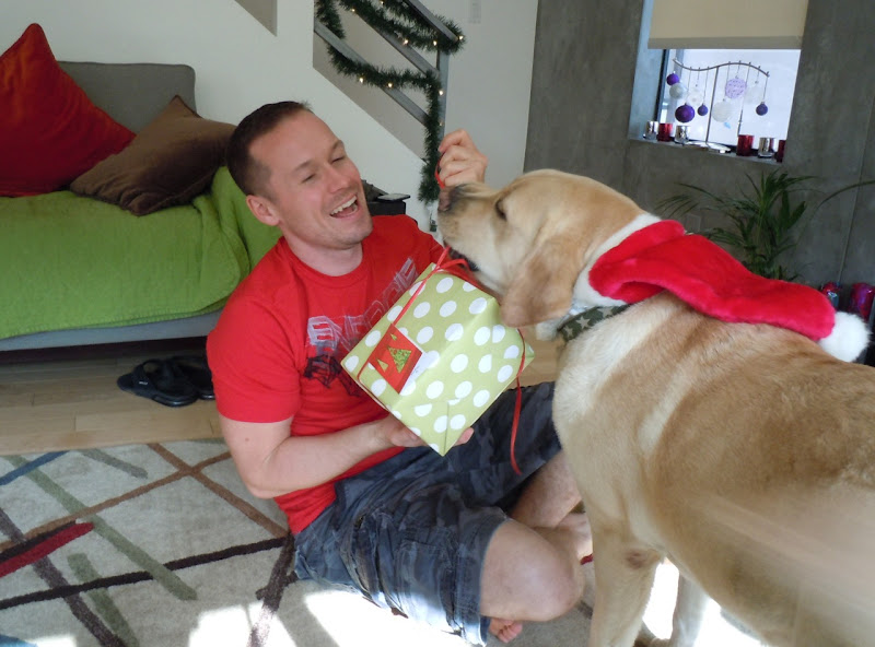 Unwrapping gifts with Cooper