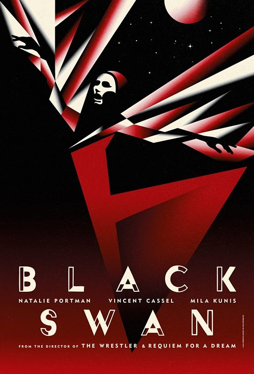 Black Swan art deco poster. THE KING'S SPEECH