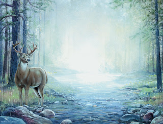 deer painting, forest, woods