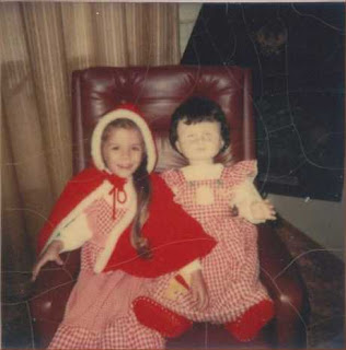 1970s in costume with my anitque doll.