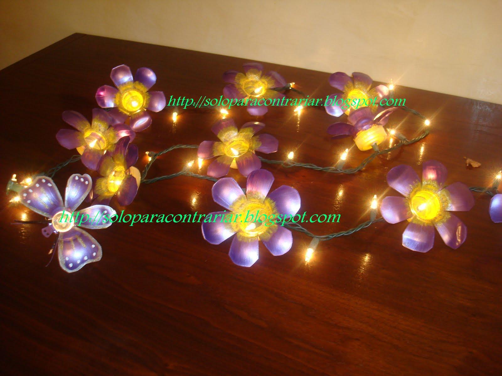 Guia de flores con luces hechas botellas plastico pictures - Flores de plastico ...
