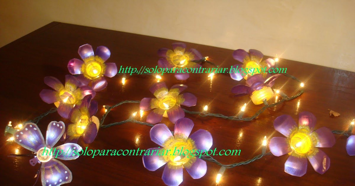 Desde mi jardin guia de flores con luces hechas con - Botellas con luces ...