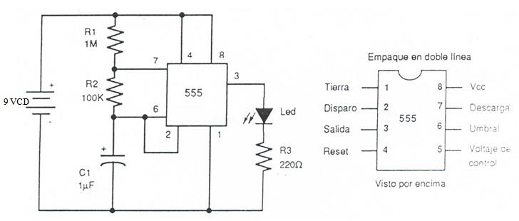 Circuito Oscilador 555 : Electronica multivibrador astable