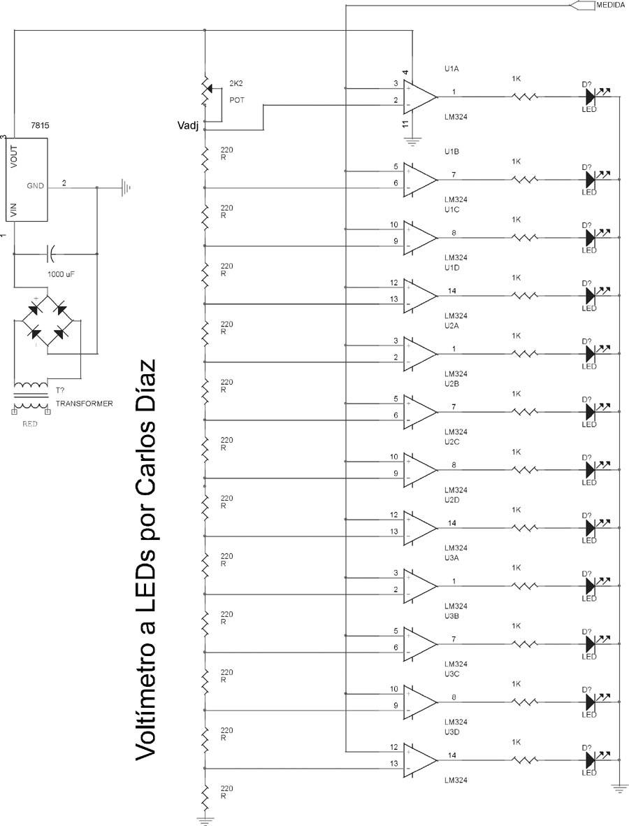 Circuito Led : El rincon de los circuitos: voltímetro a leds