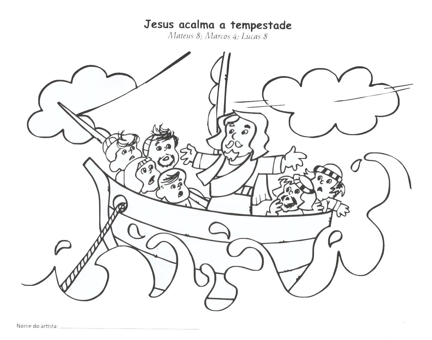 imagens para colorir jesus acalma a tempestade - Desenho de Jesus acalma a tempestade para colorir