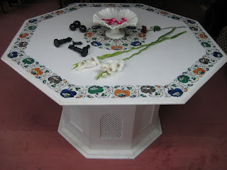 White Marble Inlay Arts Tables