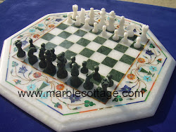 Inlay Art Chess Board in white Marble