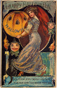 Halloween princess holding a pumpkin head. Vintage October holiday with .