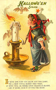 The halloween fairy puffing on the candle flame. Halloween poem printed on .