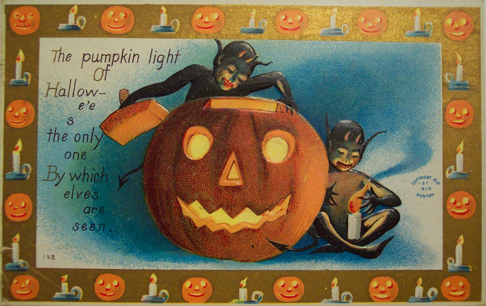 vintage holiday images & cards: vintage halloween cards, 5 days to go