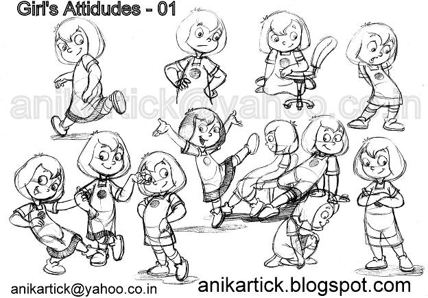character designs of kidsbabiesboyscute characters and cartoon animation poses chennai animation artist anikartick - Sketches Of Kids