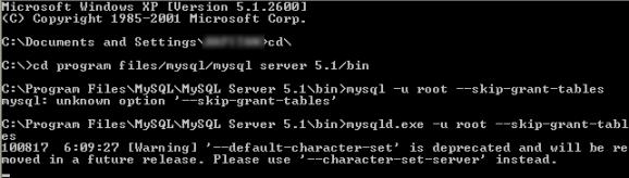 mysql reset recover password