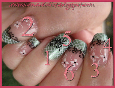 cute hello kitty nail designs. Cover with full nail stamp m57
