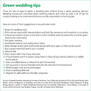 a list of green wedding tips