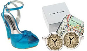 blue stiletto peep-toe shoe with bow and NYC subway token cuff links
