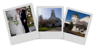wedding snapshots of the couple, the church and the reception location fanned out