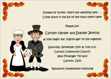 Thanksgiving-themed wedding invitation asking people to join the couple