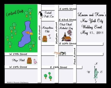 Cartoon map with Central Park and four other custom landmarks plus wedding event information