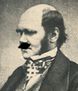 Charles Darwin with a crudely drawn Hitler Moustache
