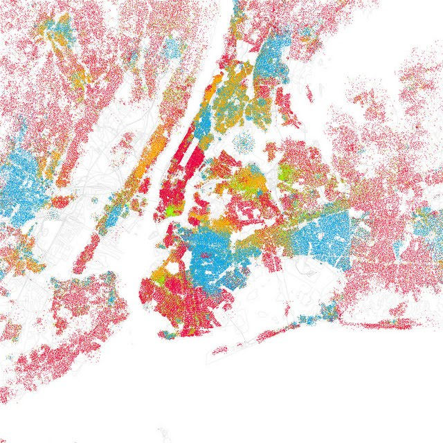 new york map of cities. A Race-Colored Map of New York