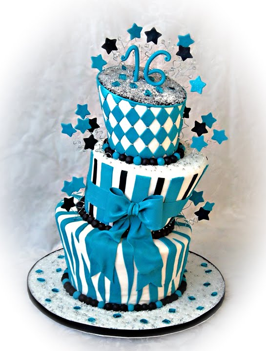 Staceys Sweet Shop Truly Custom Cakery LLC Teal Topsy Turvy