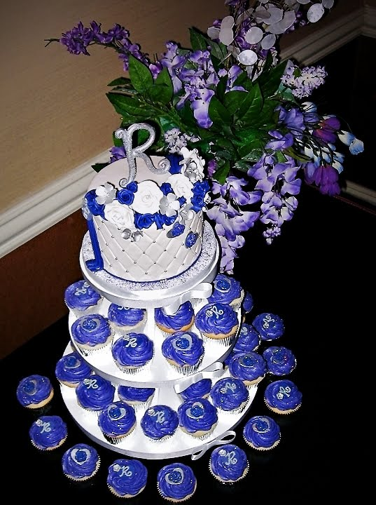 Purple Silver Bridal Shower Cupcake Tree Monogram Cookies
