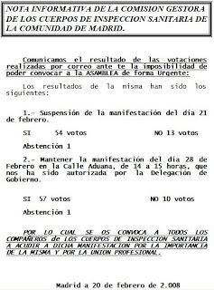 Imagen del comunicado de la Comisión Gestora con los resultados de las votaciones sobre las manifestaciones previstas de 21 y 28 de febrero de 2008. Hacer clic para aumentar de tamaño.