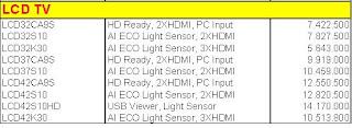 Daftar Harga LCD TV