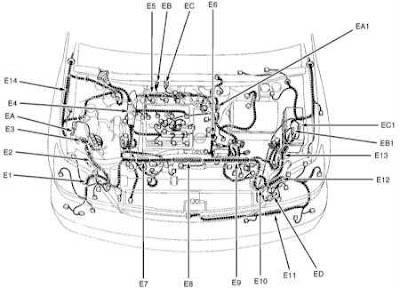 Fig.1.Wiring diagram Lexus RX-300 points of grounding, central points