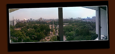 camphone panorama: view from the room at the hotel borobudur, jakarta