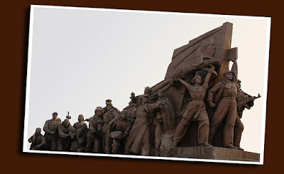 sculpture flanking the zedong mausoleum: tiananmen square, beijing
