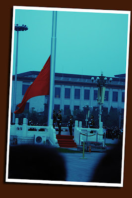 flag ceremony at tiananmen square