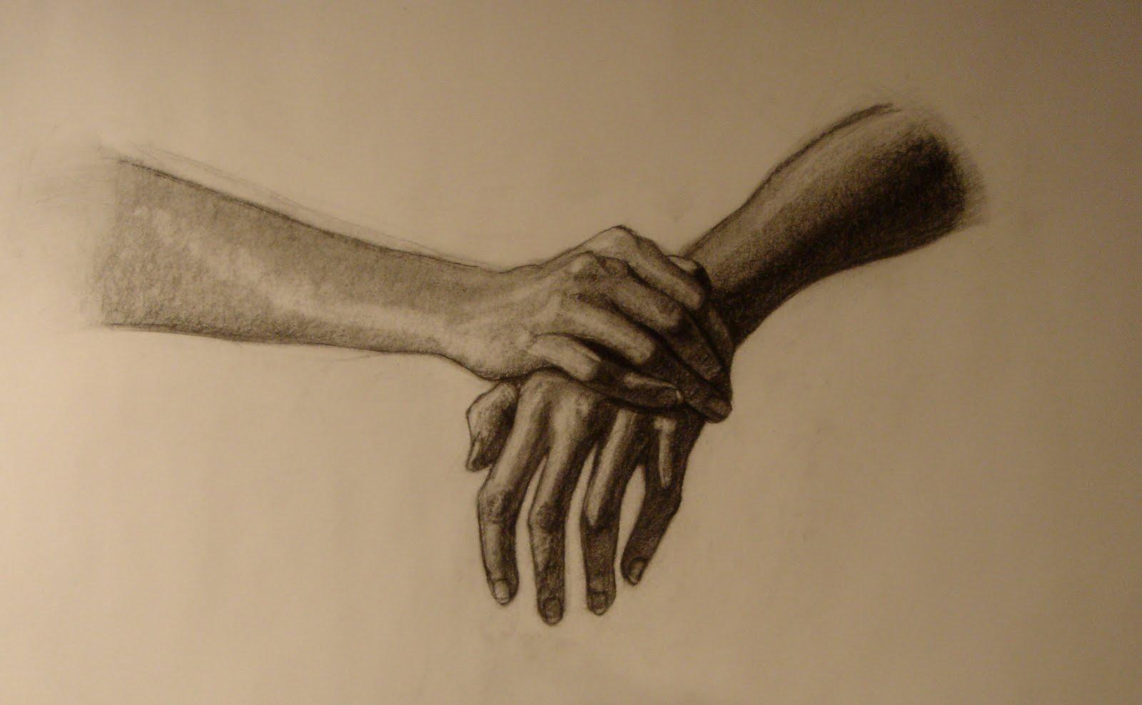 NikaWind Art Studios Hands Charcoal Drawings