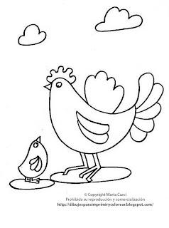 Pollito Con Su Mam    Dibujos Infantiles Gratis Para Colorear O Pintar