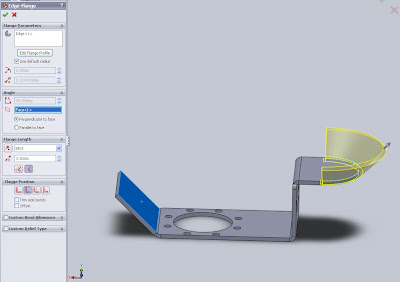 Solidworks Edge Flange in Relation to face
