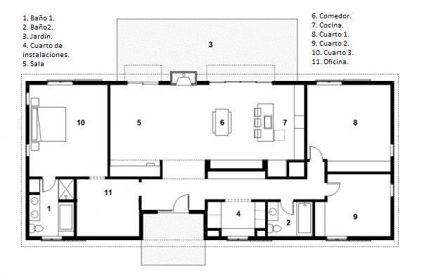 Pin plano de casa grande un piso planos arquitectura - Planos de casas grandes ...
