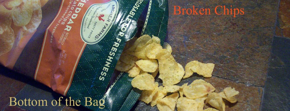 Broken chips, bottom of the bag