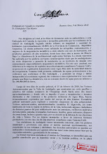 Carta presentada al Sr embajador Tim Martin