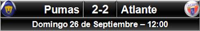 Pumas UNAM 2-2 Atlante