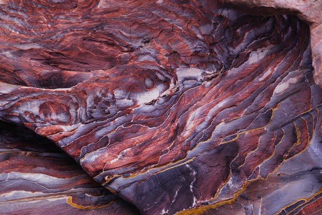 Sección de la roca típica en Petra