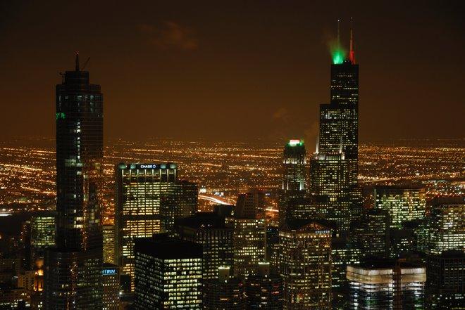 Espectacular vista de la Sears Tower, el edificio más alto de EEUU (antes y después del 11-S)