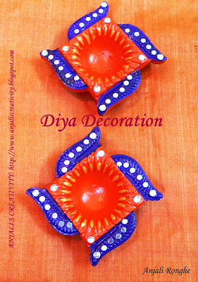 Anjali's Creativity: DIYA DECORATION!!