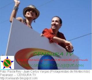 Juan Carlos Vargas y Paola Rey en la Carroza del Canal Caracol