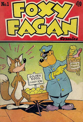 Foxy Fagan Comic Book cover drawing by Harvey Eisenberg -- cartoon fox paints eggs with gold paint and tries to sell them as golden eggs