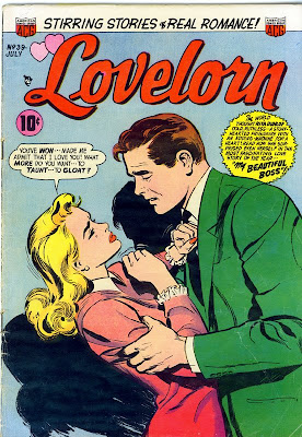 Lovelorn ACG  Pre-Code Romance Comic Book cover scan sgows man and woman struggling in romantic conflict