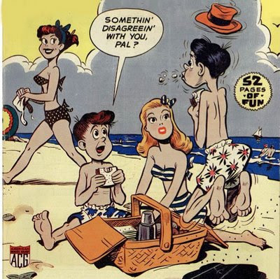 Cookie Comics by Dan Gordon -- Cookie, Jitterbuck and Angelpuss have a picnic at the beach